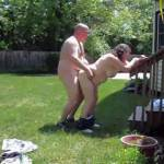fucking and cumming on a warm summer day in the back yard