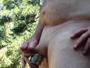 I was playing outside nude. I got really horny after clamping my nipples had to jack off.