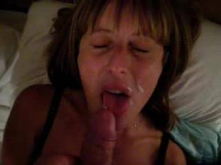 After sucking his hard cock for the chat room, he unloaded down my throat and over my face, then we shared his cum as we kissed, is there any more?