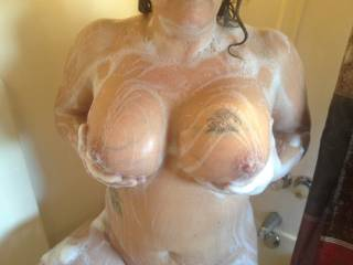 Decided to take a look in at wife in shower!!         Wow, I love the way she washes those titties!!               Do you agree with me ?