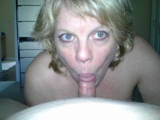 Mrs Daytonohfun sucking on my cock while her hubby watched football...I love her naughty married mouth on my dick!!!