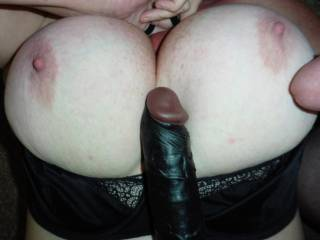 About to take a load on my big tits while I am tit fucking my black dildo. What do you think do you want to add yours to it?
