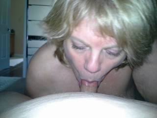 Mrs Daytonohfun sucking me to complete hardness so her cuckold hubby could watch her fuck me