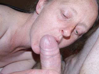 Joanne getting ready to to give me my daily blowjob