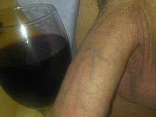 Ladies, is this a winning combo? A little red wine to get the heat and sexual energy flowing, and a big, thick, long white cock to suck on until I can't stand not being in your pussy any longer.