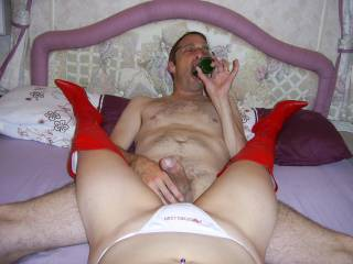 hmmm cock in hand and showing me how to deep throat a bottle before he fucks the hell out of me. It looks like he got it sorted don't it?