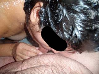 I love sucking hubby's cock in the shower while the hot water carresses my tits and pussy!
