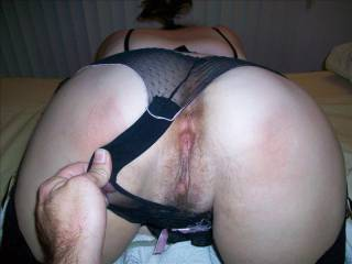 My wifes beautiful butthole and pussy. This is my favorite shot of her because its what I look forward to when I'm slurping those big ol titties....some good butt and pussy fucking.