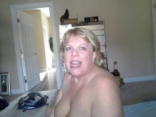 Mrs Daytonohfun covered in her cuckold hubby's cum.  She was sitting there with my load in her pussy and all her hubby can do is cum on her face!!!