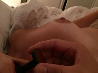 My wife getting her rosebud nice and wet so I can push it up her arse