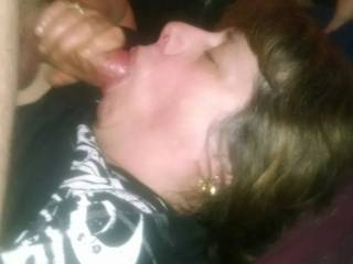 Fucking my real wifes tits and face with cum shot on her tits and face